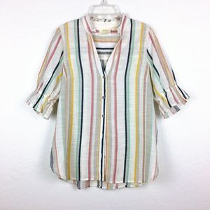 Maeve Anthro Tan Wide Striped Blouse